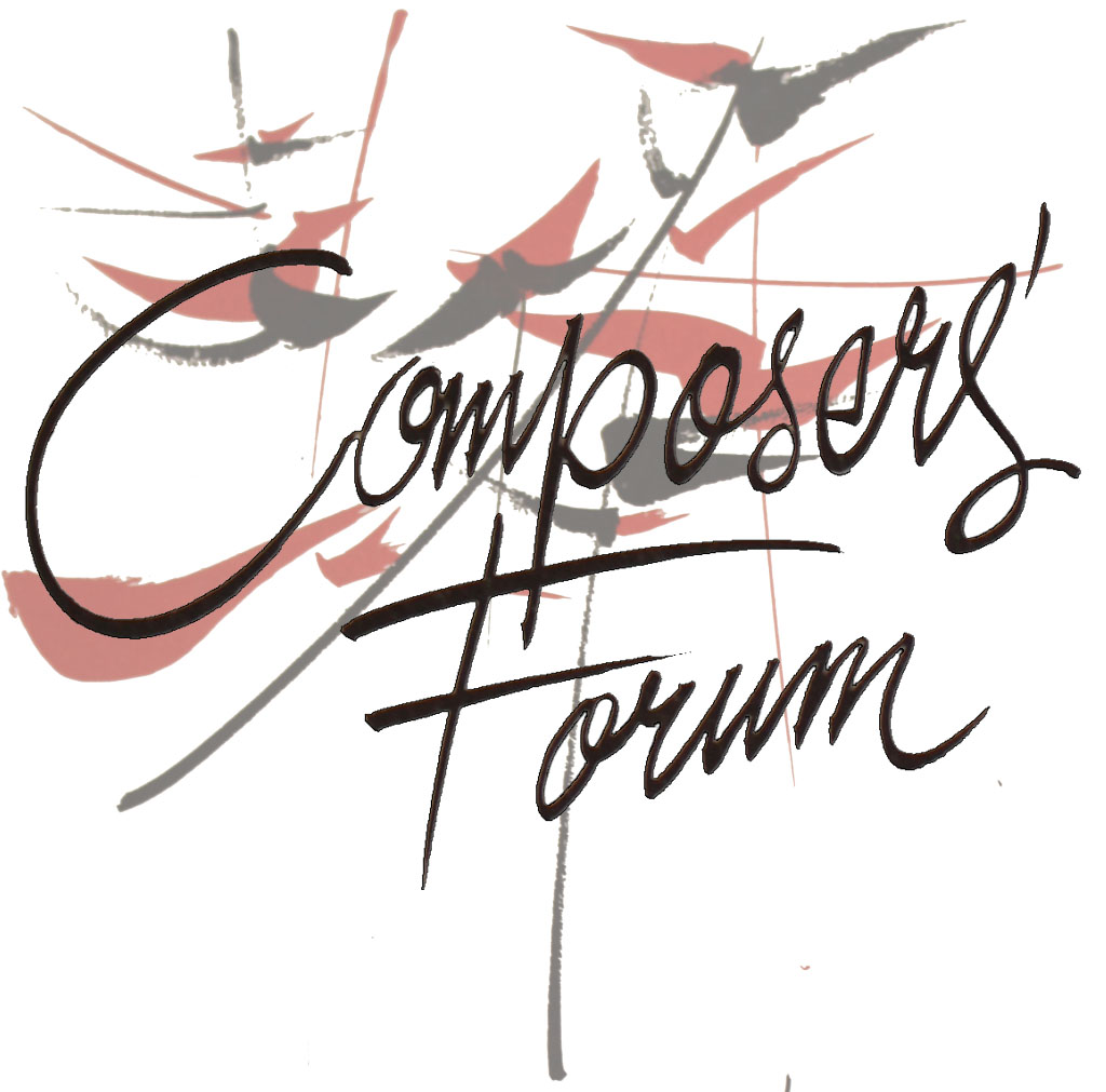 red and black art with Composers' Forum overlayed